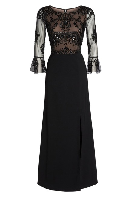 Adrianna Papell Embellished Ruffle Gown Slit Dress Image 4