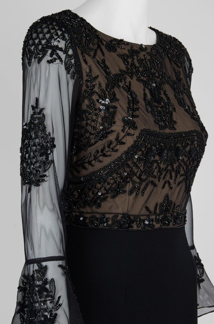Adrianna Papell Embellished Ruffle Gown Slit Dress Image 7