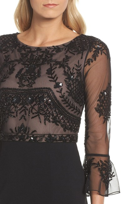 Adrianna Papell Embellished Ruffle Gown Slit Dress Image 8