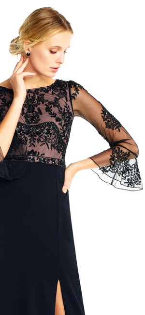 Adrianna Papell Embellished Ruffle Gown Slit Dress Image 9