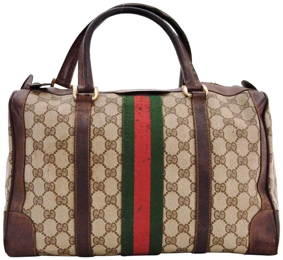 0c3a29b95d9 Gucci Vintage Large Duffle Handbag Brown Supreme Web Gg Monogram ...