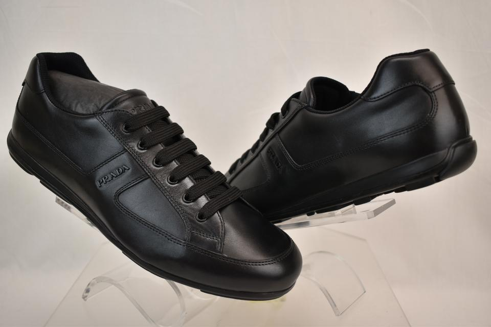 5244f76c4ba19f Prada Black Leather Lace Up Lettering Logo Sneakers 11 Us 12 Shoes Image 0  ...