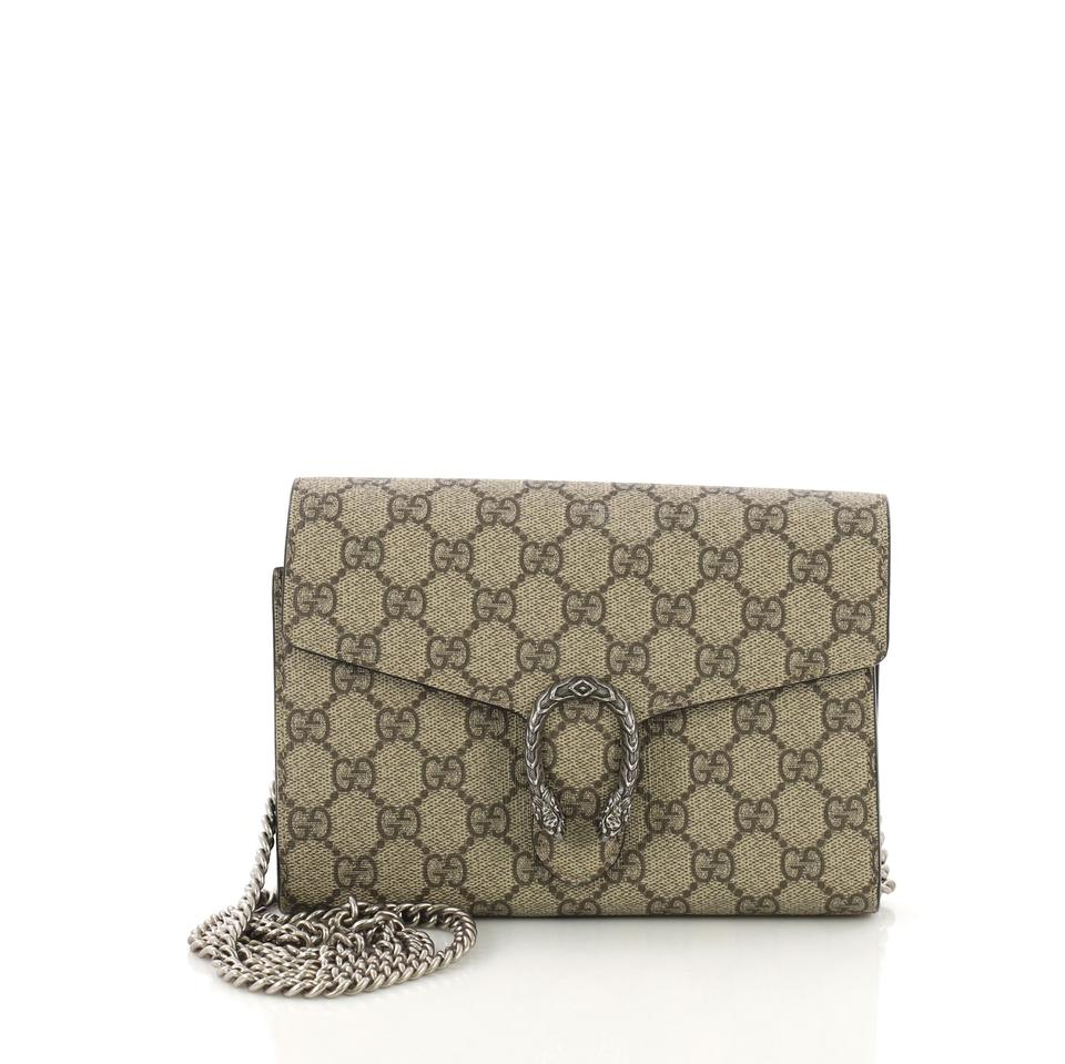 d44a72f77904d0 Gucci Chain Wallet Dionysus Gg Coated Small Brown Canvas Clutch ...