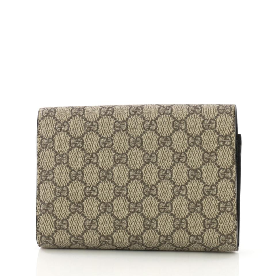 1e102b754d61 Gucci Chain Wallet Dionysus Gg Coated Small Brown Canvas Clutch ...