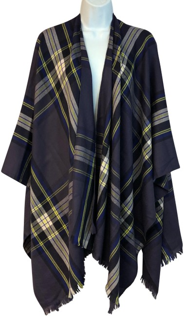 Item - Navy Plaid Wool Poncho/Cape Size OS (one size)