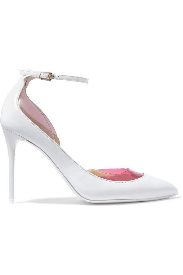 ab78ccf33 Jimmy Choo White Luc Lucy 100 Leather / Plexi Pumps Size US 6 ...