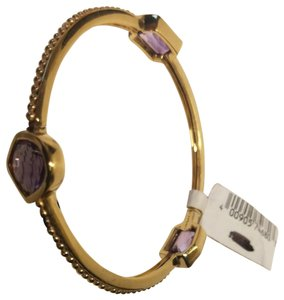 Stephen Dweck Amethyst sterling plated 14k yellow gold ribbed bangle