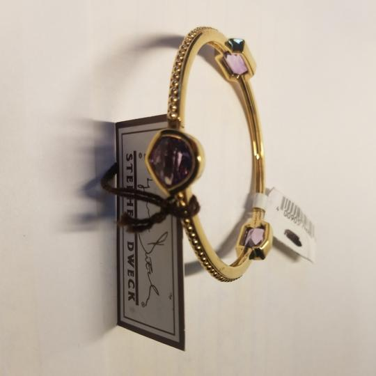 Stephen Dweck Amethyst sterling plated 14k yellow gold ribbed bangle Image 1