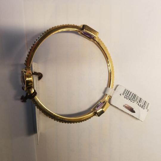 Stephen Dweck Amethyst sterling plated 14k yellow gold ribbed bangle Image 2