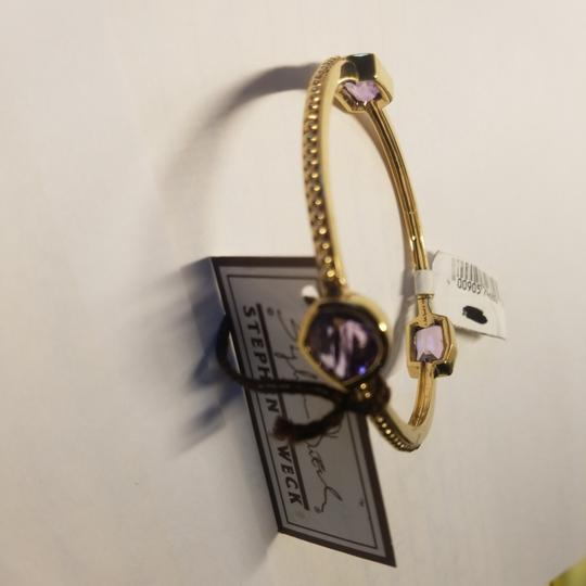 Stephen Dweck Amethyst sterling plated 14k yellow gold ribbed bangle Image 3