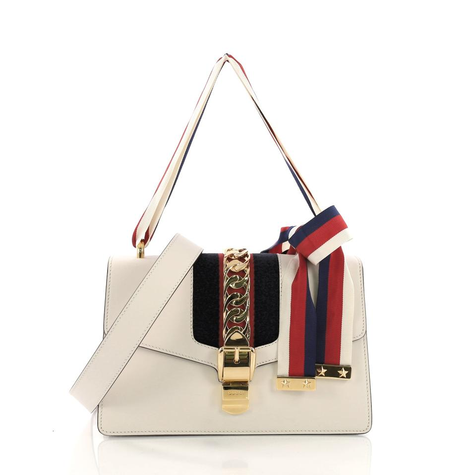 29a1569cca21 Gucci Sylvie Small Off-white Leather Shoulder Bag - Tradesy