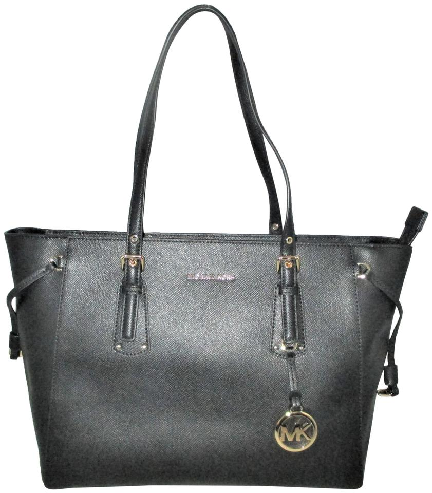 d39cad2b39b2 Michael Kors Voyager Medium Top Zip Tote Satchel Black Crossgrain ...