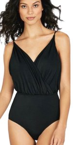 JustFab JustFab front wrap black one-piece swimsuit
