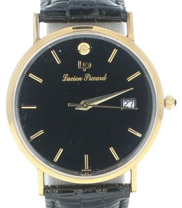 Lucien Piccard Lucien Piccard Watch 14k Gold Diamond Onyx Leather New Old Stock U4967