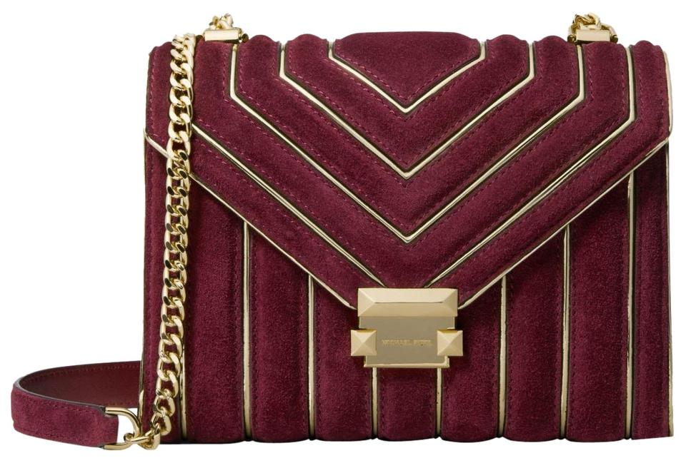 d3d5b79e228a Michael Kors Whitney Large Quilted Convertible Oxblood Suede ...