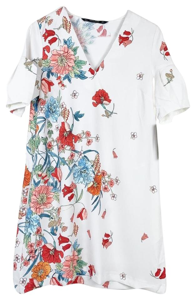 91d05412 Zara White Red Basic Collection Women's Floral Puff Sleeve Shift Medium Casual  Dress. Size: 8 ...
