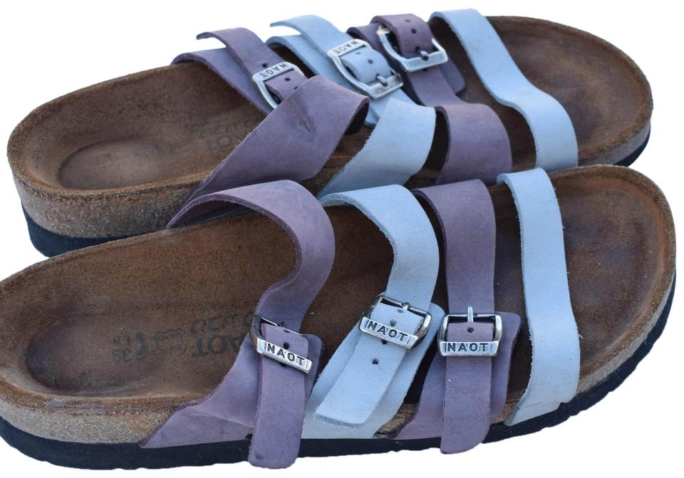 1f3a3f2b21c8 Naot Lavender   Light Gray Leather Sandals Size US 8 Regular (M