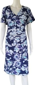 Soft Surroundings short dress Blue Jersey Floral Ruched on Tradesy