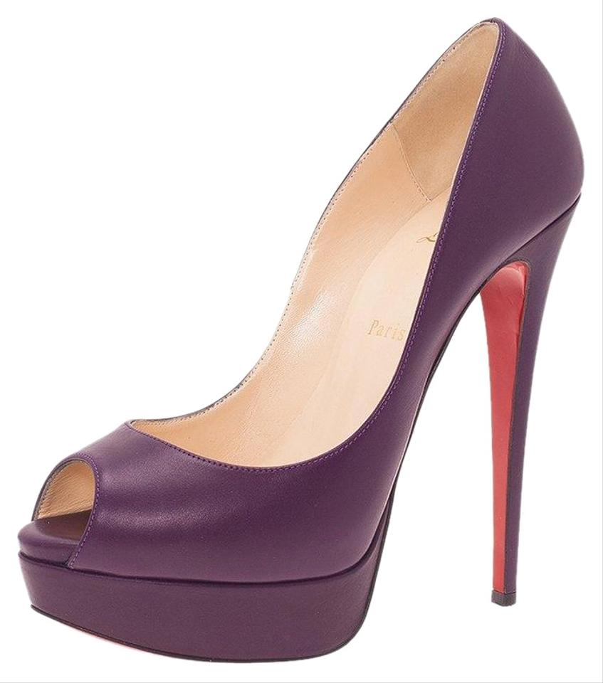 3938f1c027e Christian Louboutin Purple Leather Lady Peep Platform Pumps Size EU ...