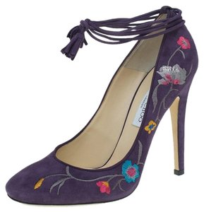Jimmy Choo Suede Embroidered Purple Pumps