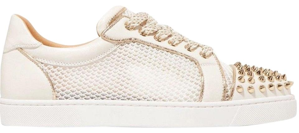 6a1fb751a077 Christian Louboutin White Ac Vieira Spikes Latte Gold Net Flat Lace Up Tie  Low Top Sneaker Sneakers