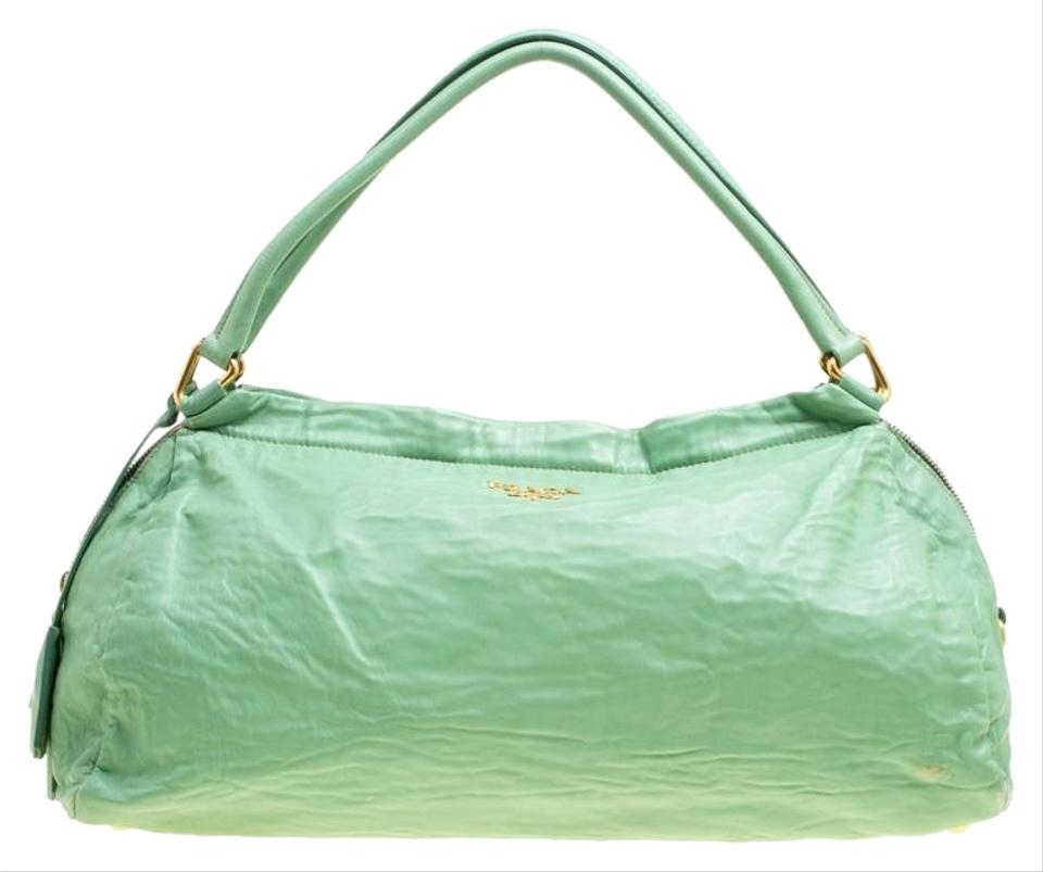 93a55dc5431d Prada Bowler Green Leather Satchel - Tradesy