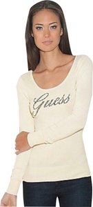 Guess Signature Logo Style Soft Knit Material Boucle Trim Rhinestone Letters Sweater