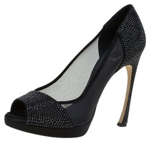 Dior Mesh Crystal Satin Black Pumps