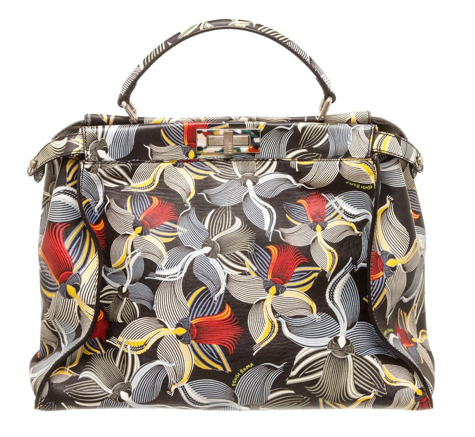2b7c0a6452 Fendi Peekaboo Large Orchid Print Black Multicolor Leather Satchel ...