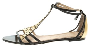 Charlotte Olympia Leather Gold Black Sandals