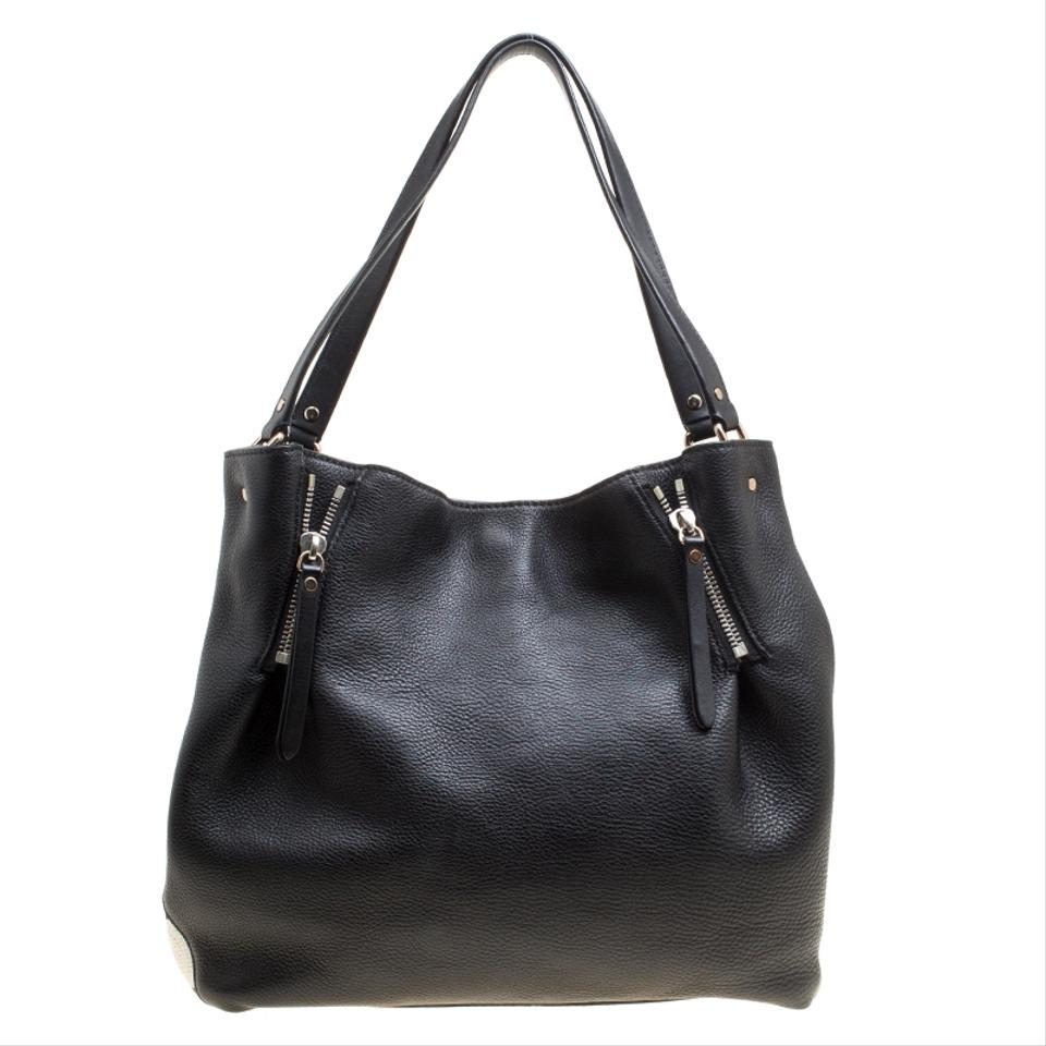 d2e0479b322 Burberry Textured and Nova Check Canvas Zip Detail Black Leather Tote