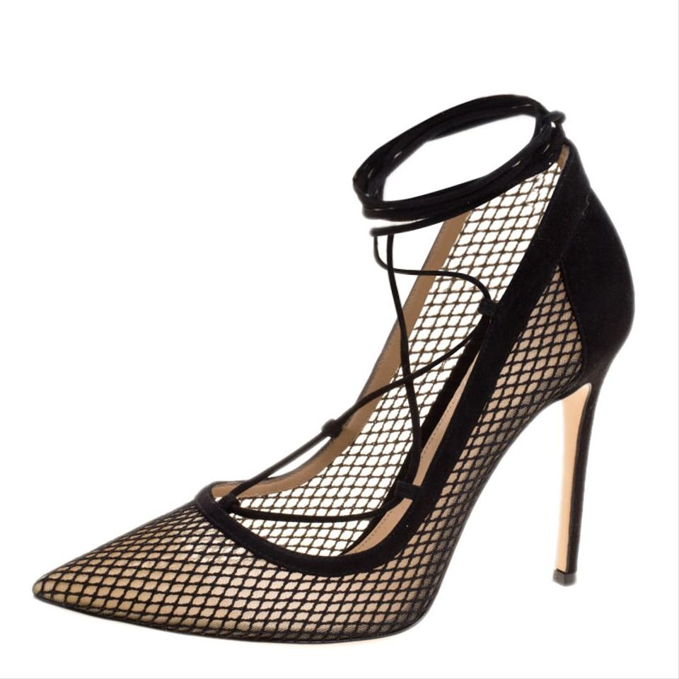 320e92914517 Gianvito Rossi Black Suede and Mesh Lace Up Pointed Pumps Size EU 40  (Approx. US 10) Regular (M