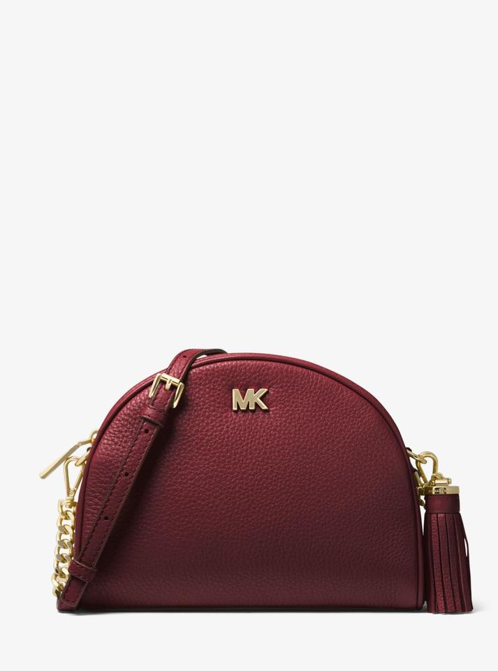 66d5a4b58bb3 Michael Kors Ginny Pebbled Half-moon 33f8gf5c0l Oxblood Leather ...