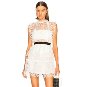 d9350b6b068 self-portrait White Circle Floral Lace Sleeveless Tiered Short ...