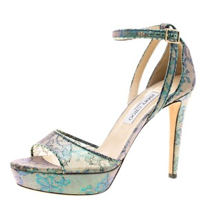 Jimmy Choo Ankle Strap Lace Metallic Sandals