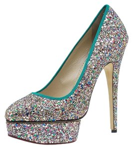 Charlotte Olympia Leather Glitter Multicolor Pumps