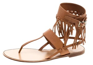 Valentino Leather Detail Ankle Flat Brown Sandals