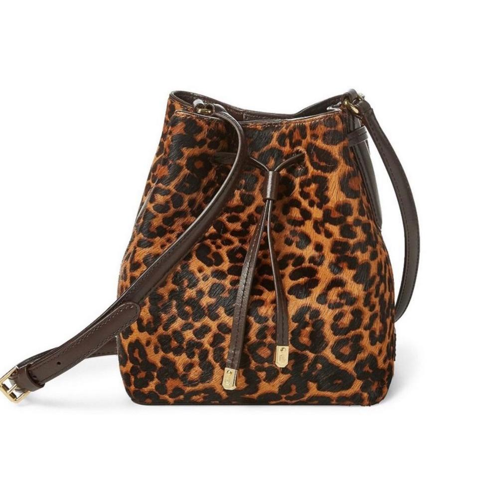 685b6fece5 Lauren Ralph Lauren Drawstring Leopard Calf Hair Shoulder Bag - Tradesy