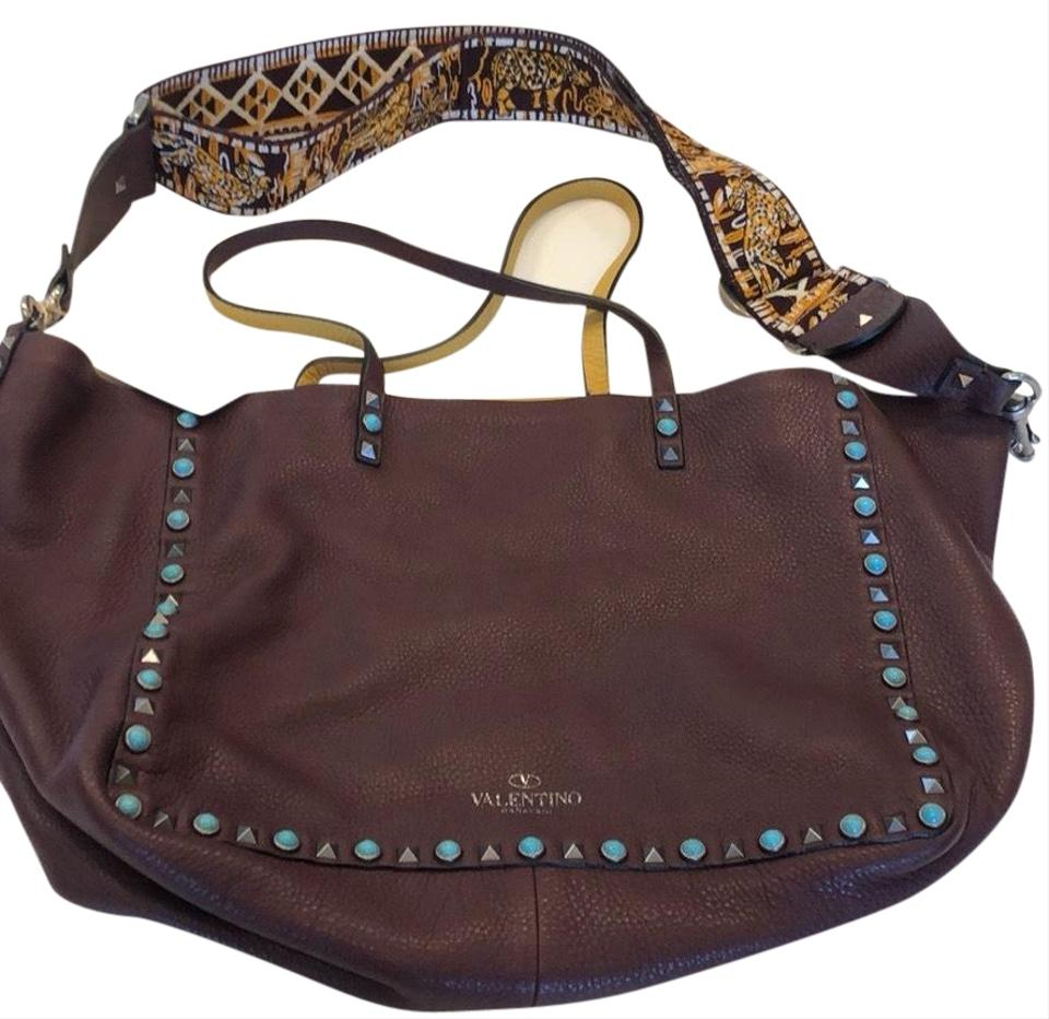 0d0f91866472 Valentino Reversible Rockstud Medium Tote Brown (Purple) and Yellow Leather  Cross Body Bag