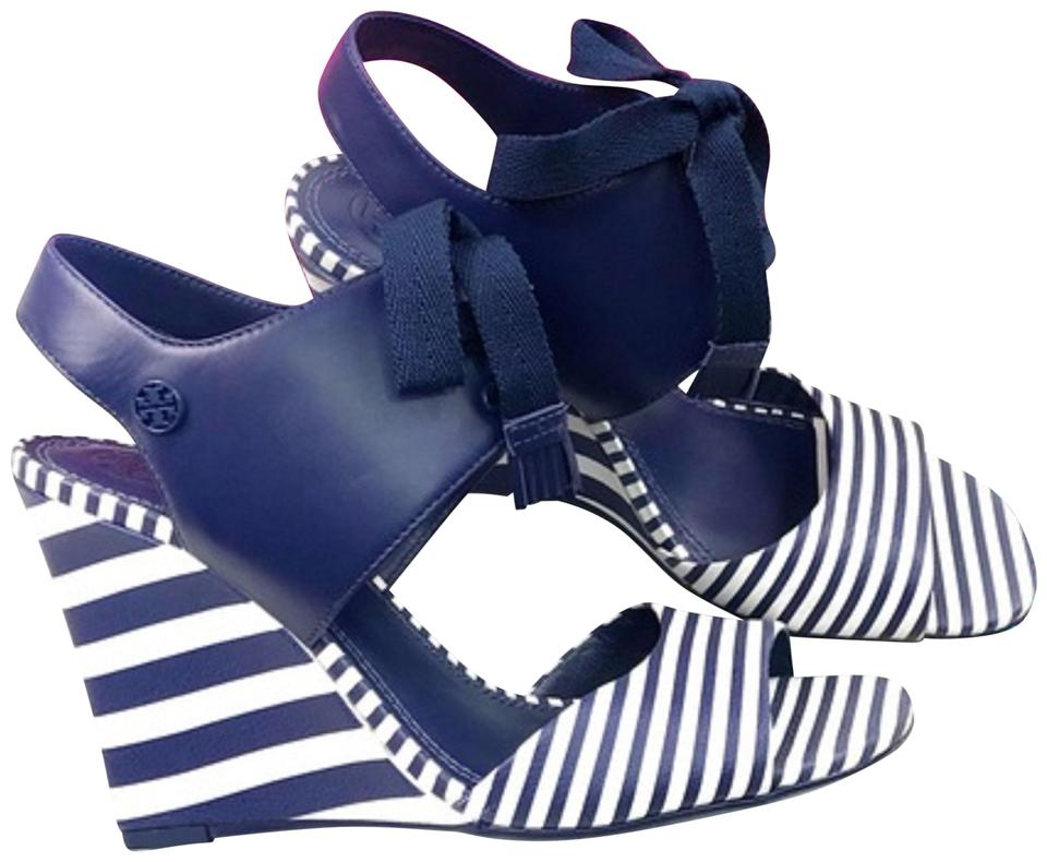 eb22d870656 Tory Burch Blue White Wedges Size US 7 Regular (M