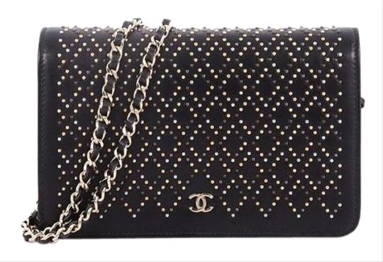 56bf956e3c30 Chanel Wallet on Chain Studded Black Leather Shoulder Bag - Tradesy