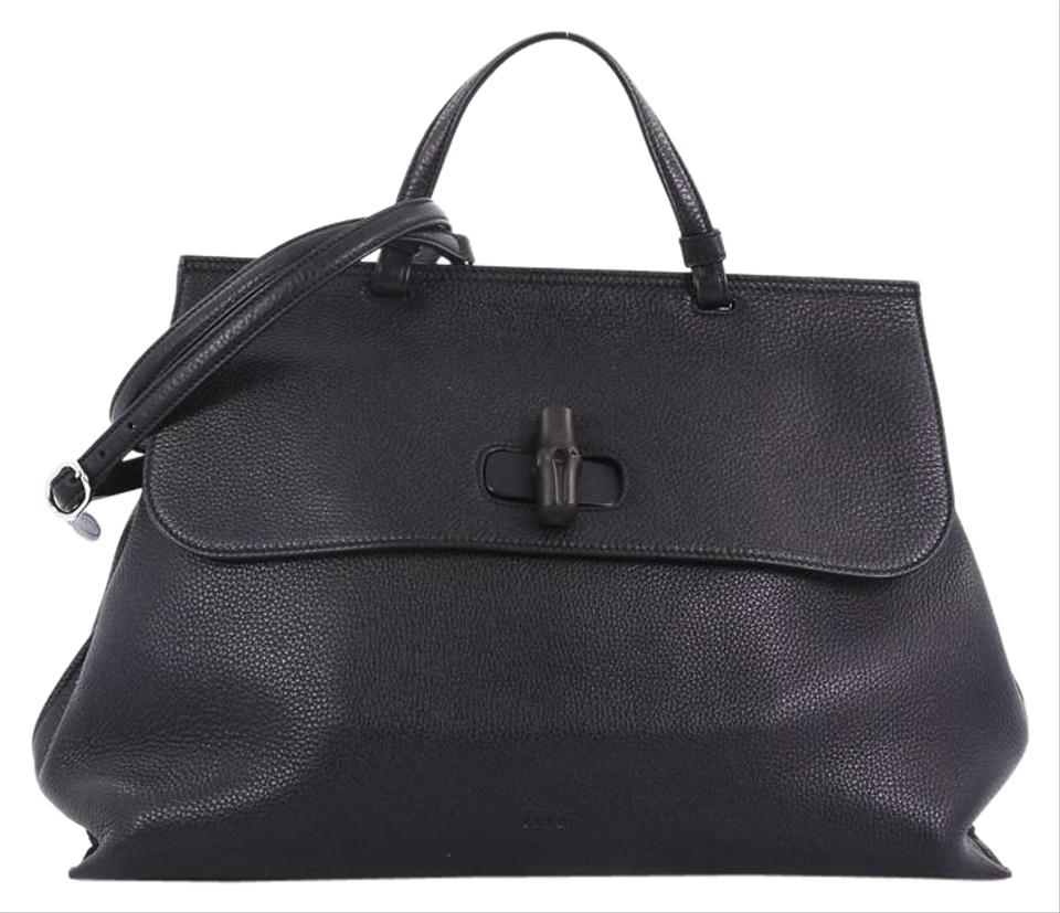 37c4b604579 Gucci Bamboo Daily Top Handle Large Black Leather Satchel - Tradesy