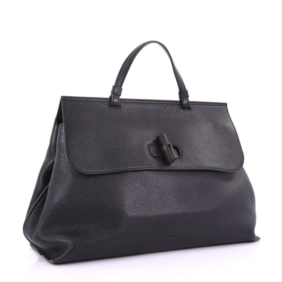79976a7c75c Gucci Bamboo Daily Top Handle Large Black Leather Satchel - Tradesy