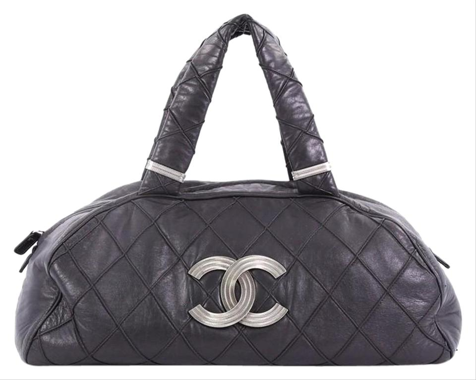 5f51d6437b74 Chanel Cc Bowler Quilted Large Black Leather Satchel - Tradesy