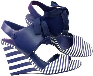 Tory Burch Blue/White Wedges