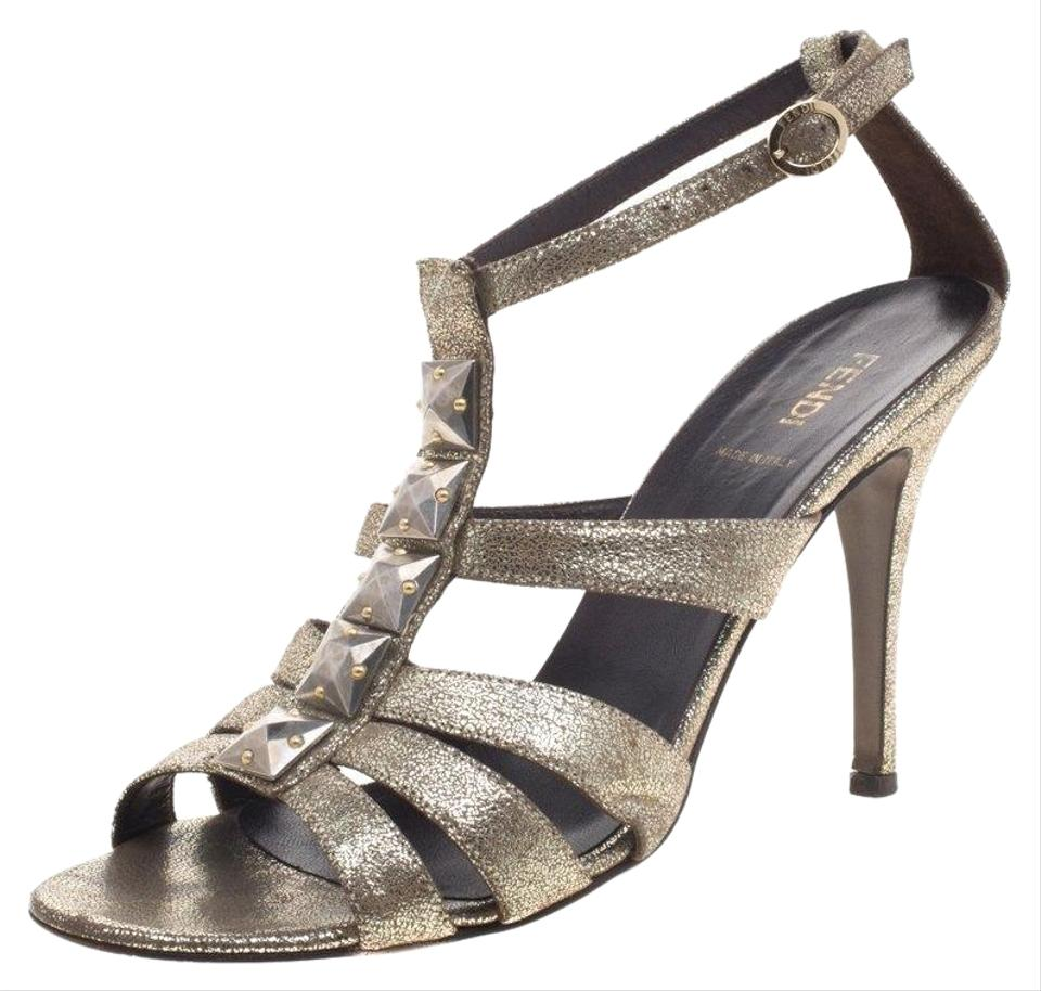 b3629d9f29b1 Fendi Gold Iridescent Leather Silver Studded Ankle Strap Sandals ...