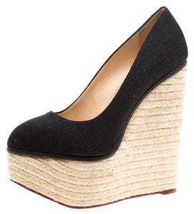 Charlotte Olympia Canvas Espadrille Platform Wedge Black Pumps