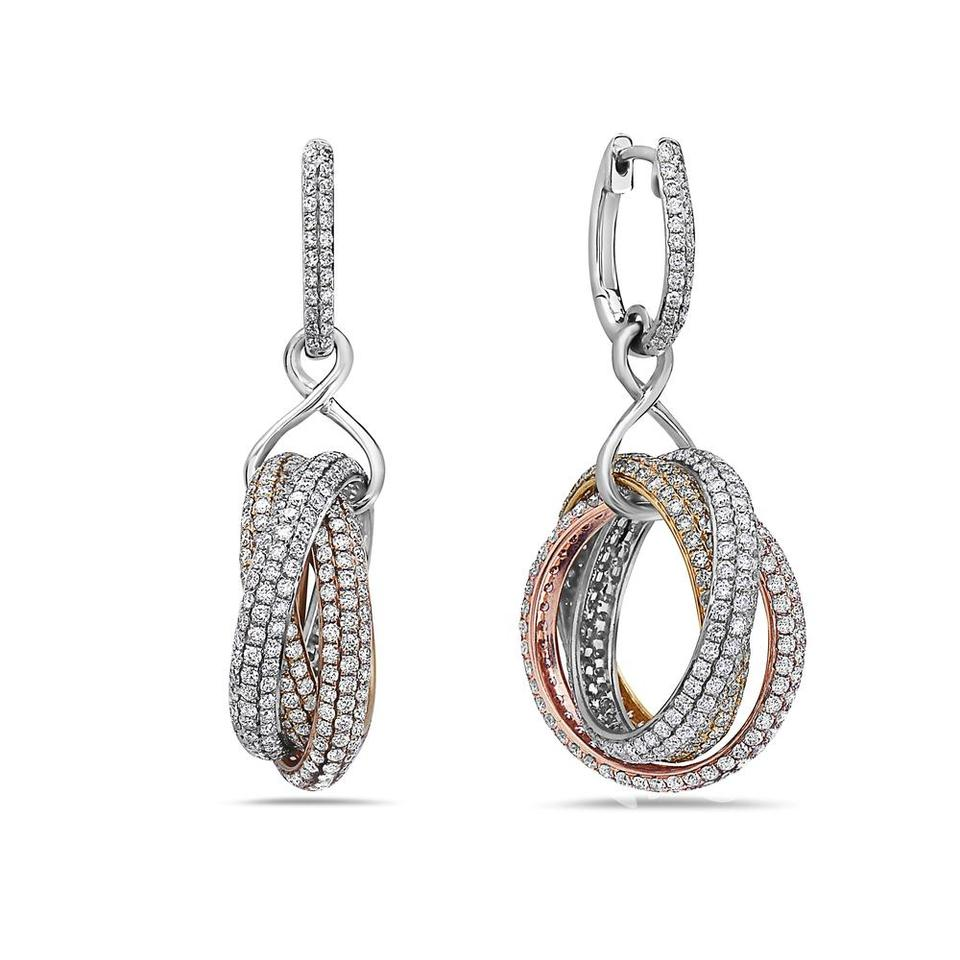 18k Mix White Yellow and Rose Gold Ladies with 8 75 Ct Diamonds Earrings
