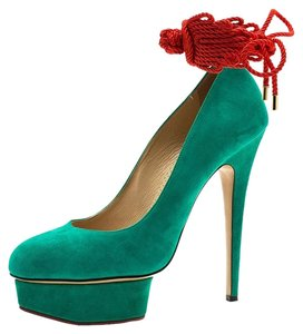 Charlotte Olympia Suede Platform Green Pumps