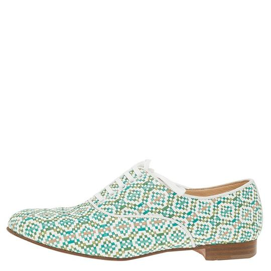 Christian Louboutin Woven Oxford Green and White Flats